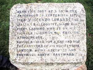 Inscription on stone at Balloon Corner.